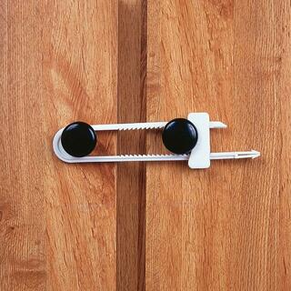 Easy-to-install and affordable slide locks clasp onto cabinet door knobs or handles