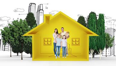 Happy family with grocery bags against house shape with living room sketch.jpeg