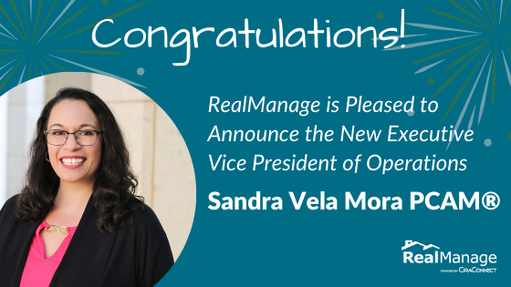 Sandra Vela Mora, PCAM®, Promoted to Executive VP of Operations